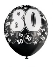 80th Birthday Black Glitz Latex Balloons 12 inch